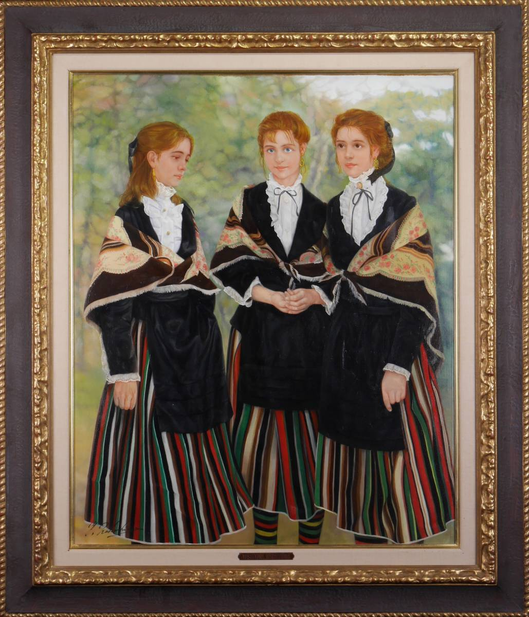 真作保証 / 中島義行 / バルデペーニャの娘達 / 油彩15号 / 民族衣装をまとった美少女達
