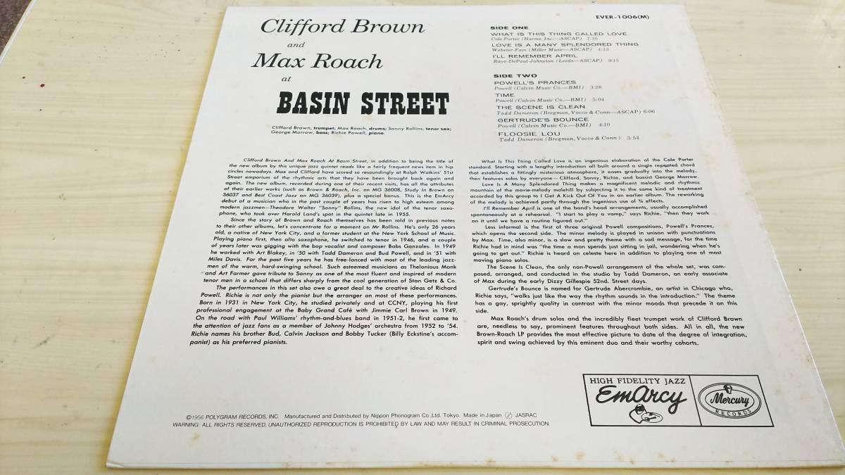 即決あり LP モノラル CLIFFORD BROWN/クリフォードブラウン/MAX ROACH/マックスローチ/AT BASIN STREET _画像2