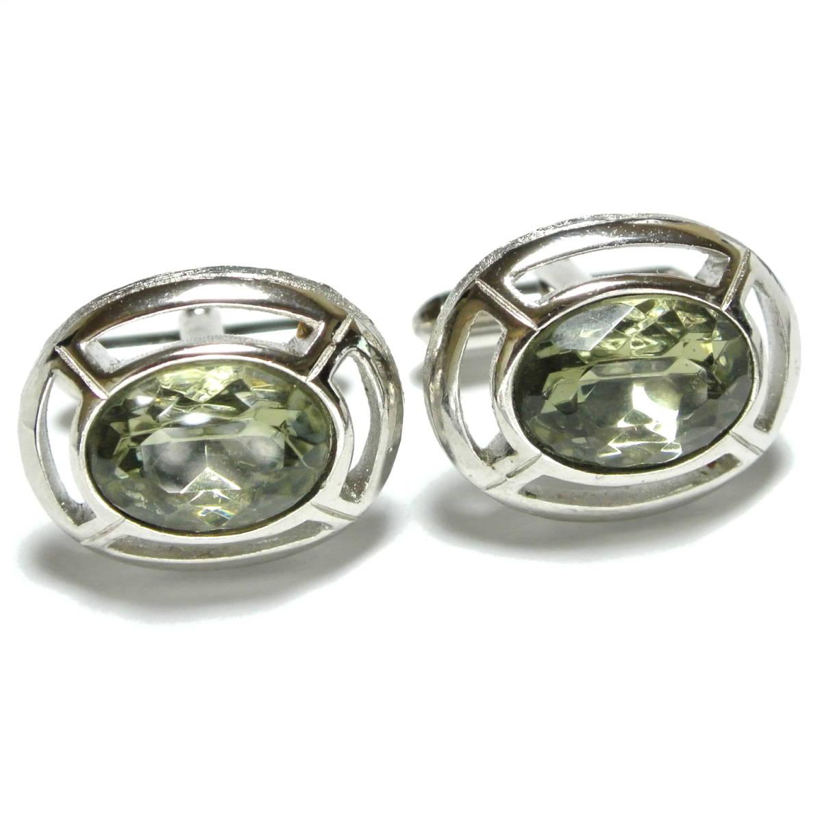 クリスタル◆アメリカ SWANK製 ヴィンテージ カフリンクス 銀 シルバー ガラス シンプル 楕円 オーバル カフスボタン スワンク_画像1