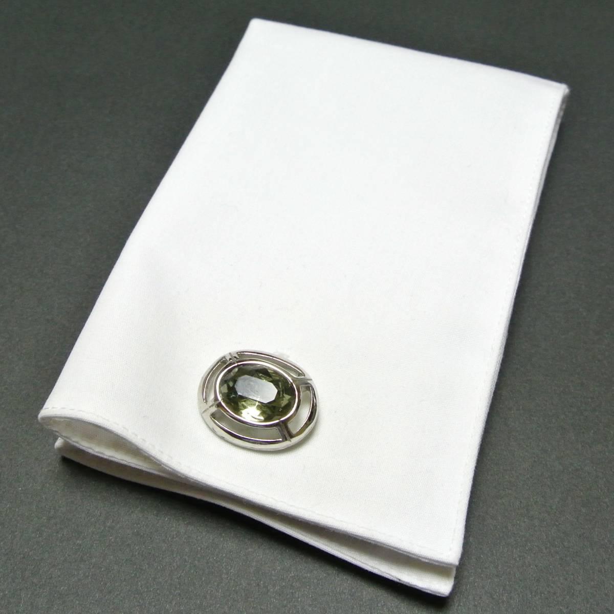 クリスタル◆アメリカ SWANK製 ヴィンテージ カフリンクス 銀 シルバー ガラス シンプル 楕円 オーバル カフスボタン スワンク_画像5
