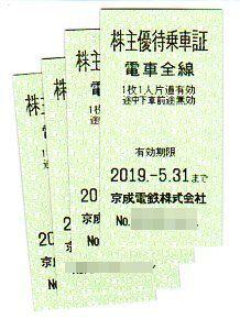 京成電鉄株主優待乗車券4枚セット(普通送料込み)