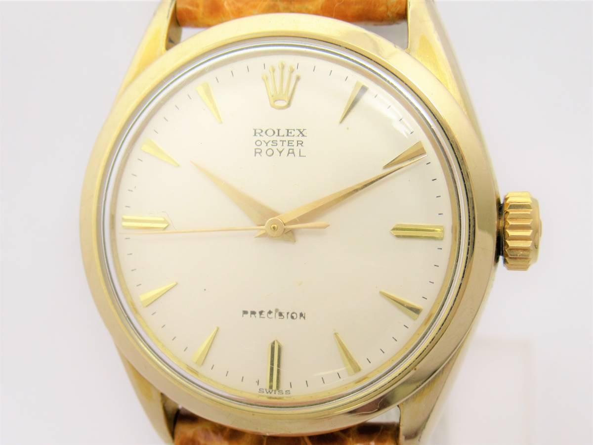 ロレックス Ref.6426 オイスター ロイヤル プレシジョン ドルフィン針 メンズ ゴールド ラウンド 手巻き 時計 W5472
