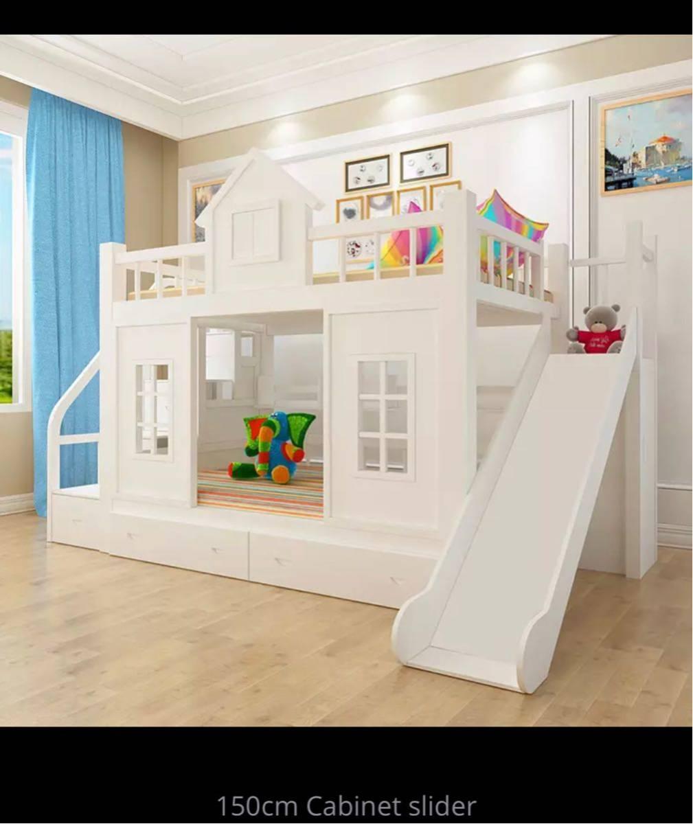 残り1台!送料無料!木製.子供ベッド木材二段ベッドはしごキャビネットスライダー_画像5