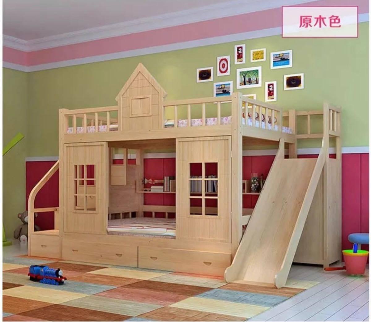 残り1台!送料無料!木製.子供ベッド木材二段ベッドはしごキャビネットスライダー_画像4