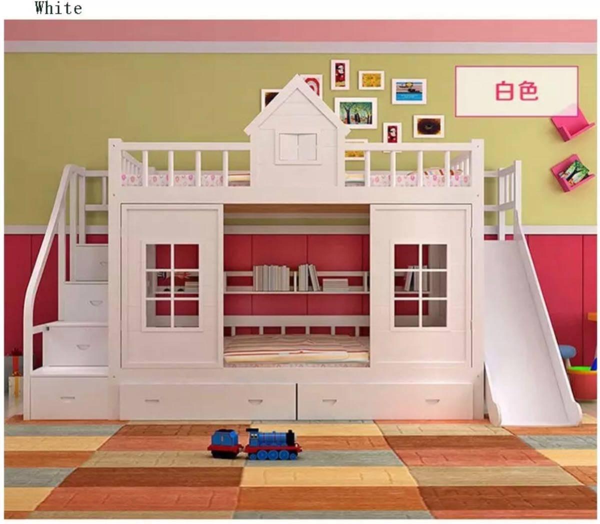 残り1台!送料無料!木製.子供ベッド木材二段ベッドはしごキャビネットスライダー_画像10
