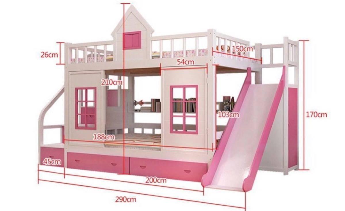 残り1台!送料無料!木製.子供ベッド木材二段ベッドはしごキャビネットスライダー_画像3