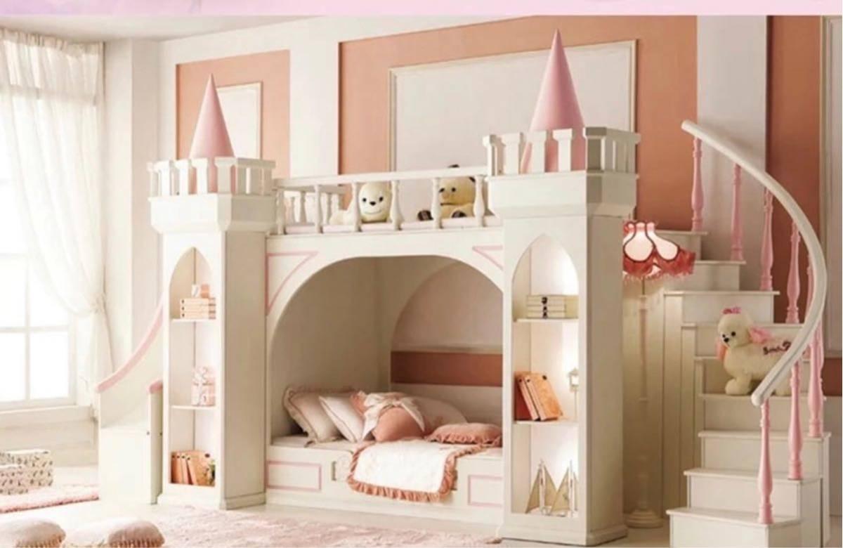 残り1台!送料無料!木製.子供ベッド木材二段ベッドはしごキャビネットスライダー_画像8