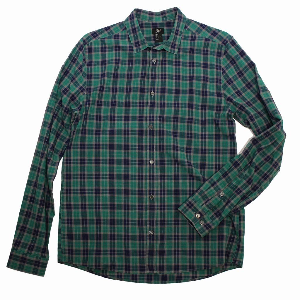 チェック シャツ 長袖 メンズ US Mサイズ H&M 古着 美品 送料込み_画像5