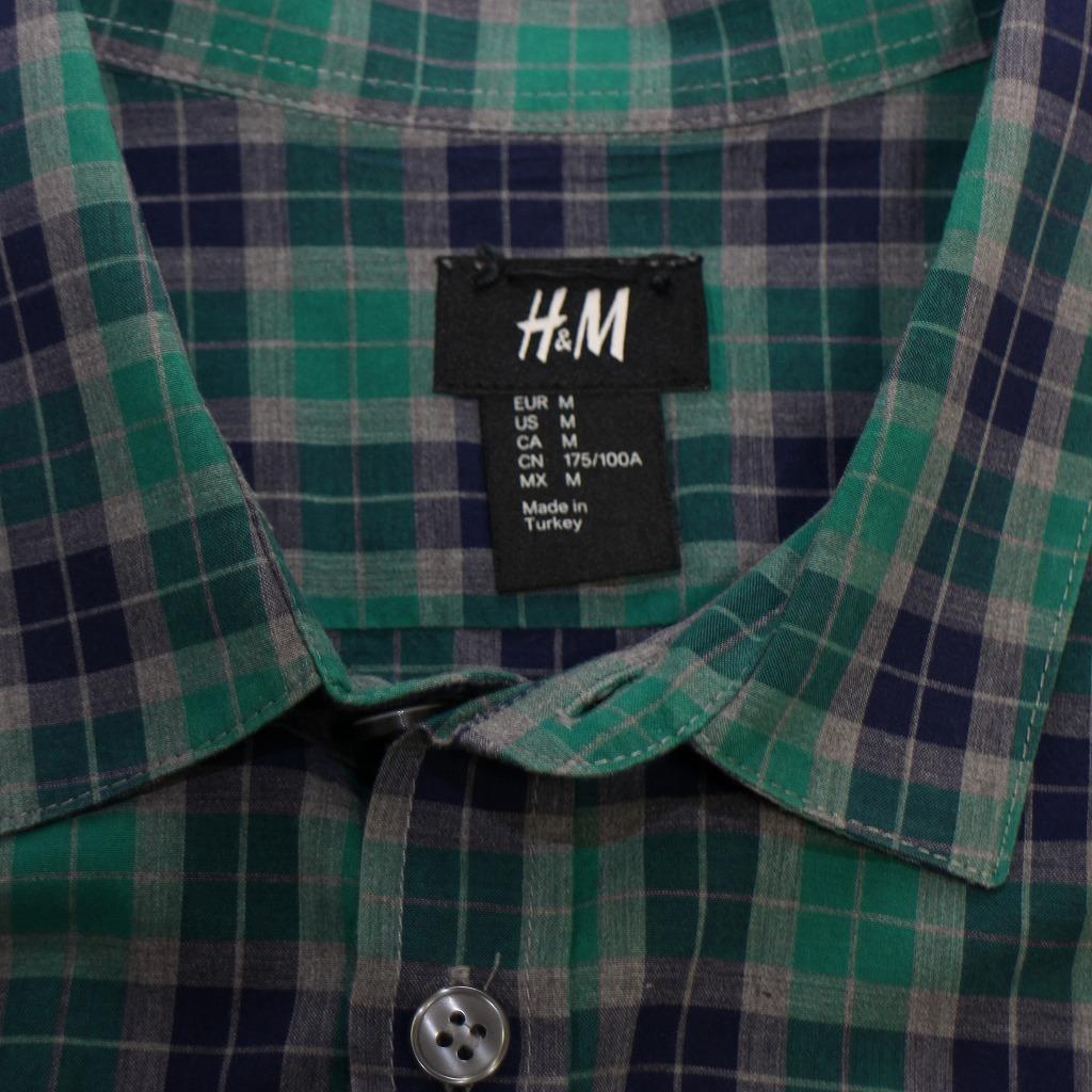 チェック シャツ 長袖 メンズ US Mサイズ H&M 古着 美品 送料込み_画像7
