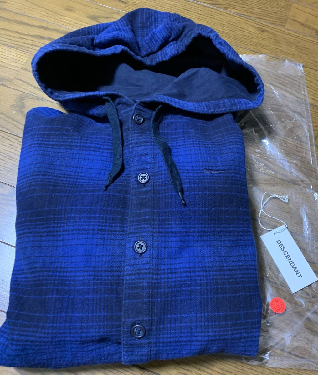 DESCENDANT ディセンダント MULE HOODED LS SHIRT シャツ 2 BLUE 即決 18 A/W 青 M フーディ オンブレ CHECK チェック 中古 正規品 美品 AW_画像6