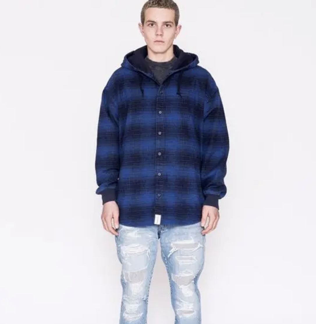 DESCENDANT ディセンダント MULE HOODED LS SHIRT シャツ 2 BLUE 即決 18 A/W 青 M フーディ オンブレ CHECK チェック 中古 正規品 美品 AW_画像1