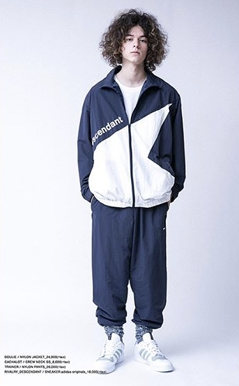 DESCENDANT ディセンダント DOULIE NYLON JACKET TRAINER PANTS セットアップ 2 即決 M 新品 ナイロン NAVY 紺 WHITE 白 正規品 18 S/S SS