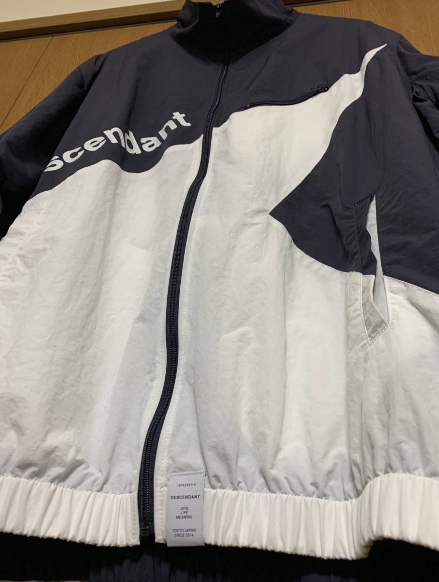 DESCENDANT ディセンダント DOULIE NYLON JACKET TRAINER PANTS セットアップ 2 即決 M 新品 ナイロン NAVY 紺 WHITE 白 正規品 18 S/S SS_画像5