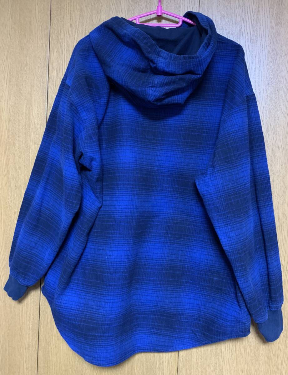 DESCENDANT ディセンダント MULE HOODED LS SHIRT シャツ 2 BLUE 即決 18 A/W 青 M フーディ オンブレ CHECK チェック 中古 正規品 美品 AW_画像5