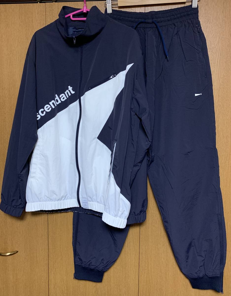 DESCENDANT ディセンダント DOULIE NYLON JACKET TRAINER PANTS セットアップ 2 即決 M 新品 ナイロン NAVY 紺 WHITE 白 正規品 18 S/S SS_画像2