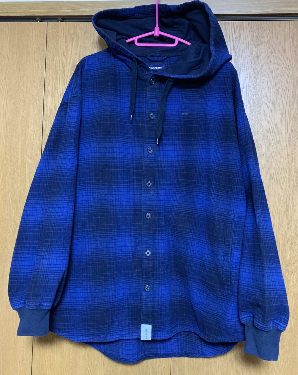 DESCENDANT ディセンダント MULE HOODED LS SHIRT シャツ 2 BLUE 即決 18 A/W 青 M フーディ オンブレ CHECK チェック 中古 正規品 美品 AW_画像2