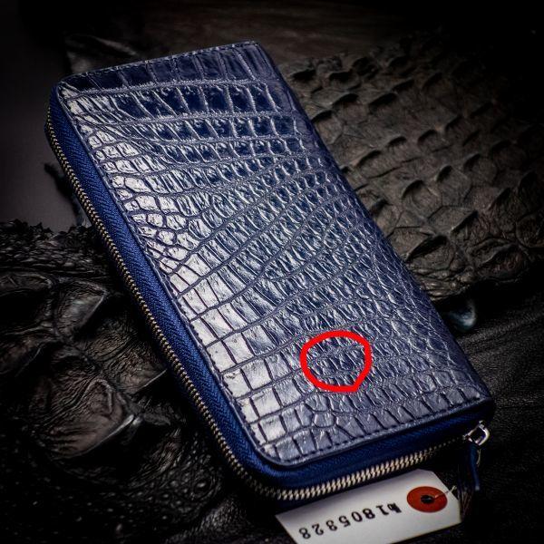 訳あり【必ず画像をご覧ください】 新品 未使用 送料無料 本革 レザー メンズ 財布 長財布 ラウンドファスナー クロコダイル 5328