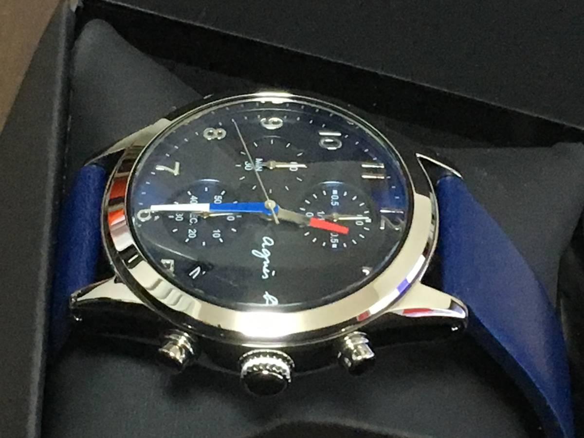 アニエスベー agnesb クロノグラフ FCRT978 腕時計 ネイビー 革ベルト 新品 保証書 タグ付_画像3