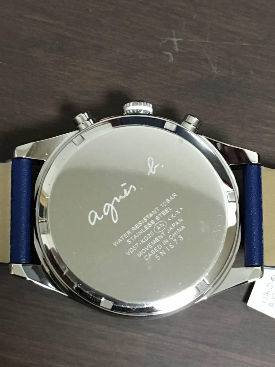 アニエスベー agnesb クロノグラフ FCRT978 腕時計 ネイビー 革ベルト 新品 保証書 タグ付_画像4