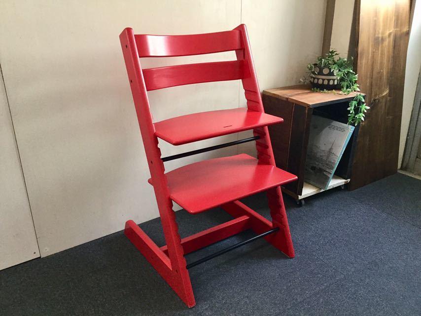 ■STOKKE/ストッケ TrippTrapp/トリップトラップ/レッド 子供椅子 ベビーチェア 女の子 北欧 ノルウェー 赤ちゃんから大人まで使える椅子■