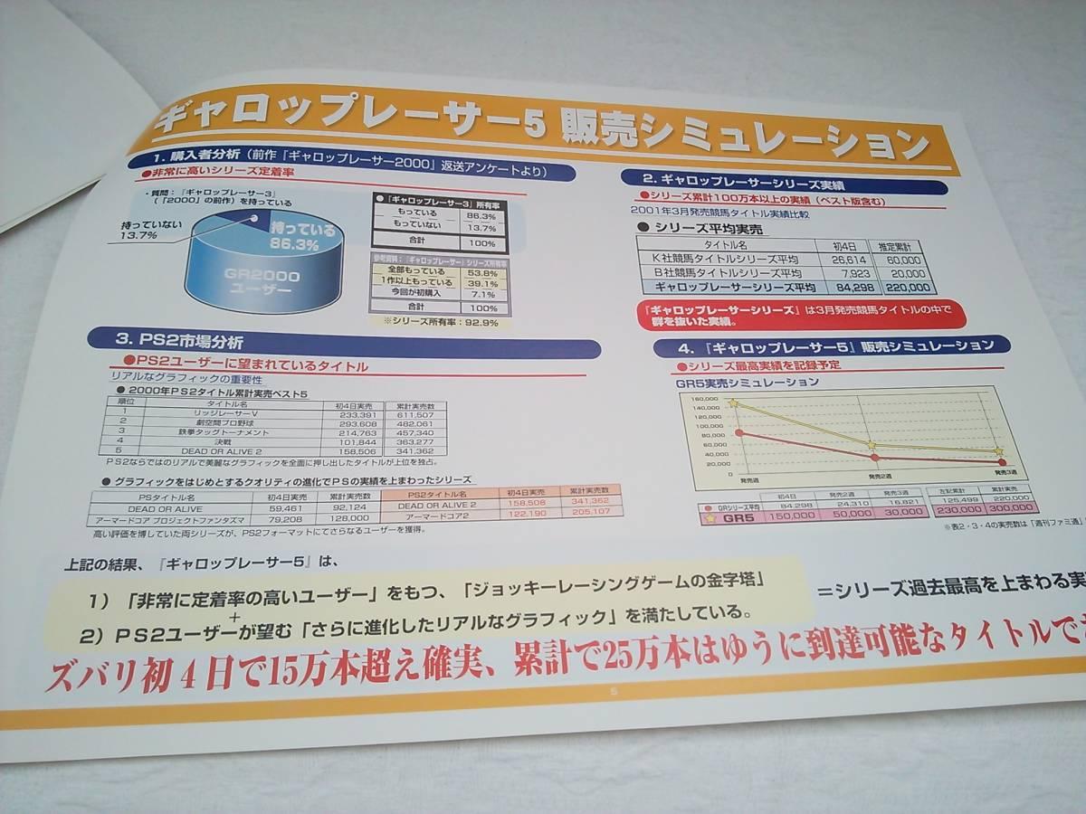 (管理番号G977)販売店用資料 プレイステーション2用ソフト「ギャロップレーサー5」の販売計画書_画像5