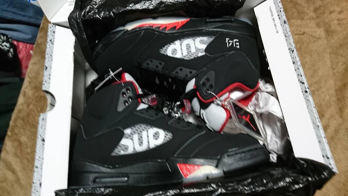 1円 納品書付き Supreme Nike Air Jordan 5 黒 28.5cm 黒タグ ジョーダン5 28.5㎝ ナイキ シュプリーム