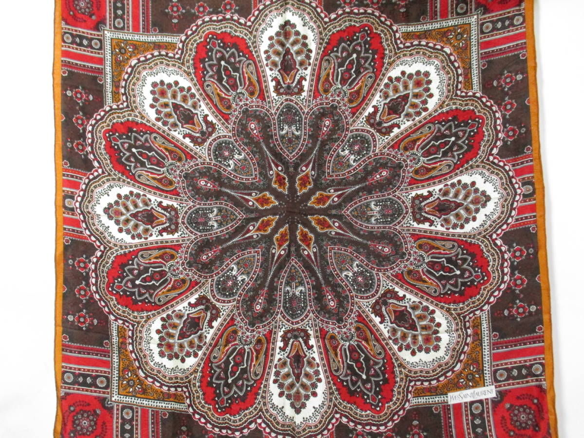 2a381f28533f 22084 YVES SAINT LAURENT イヴサンローラン スカーフ シルク100% 88cm×88cm _画像