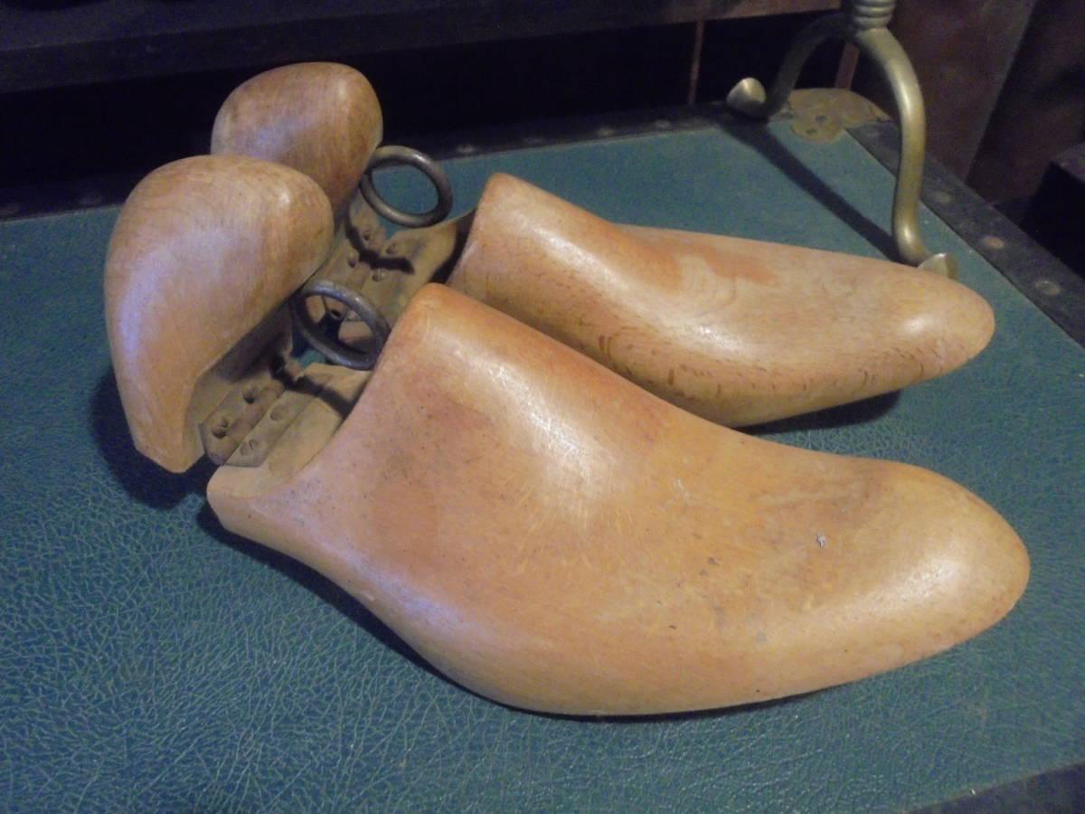 【フランス蚤の市無垢材のシューキーパー】オールドチーク靴型靴職人ヴィンテージ古着古道具アンティークインテリアインダストリアル骨董_画像1