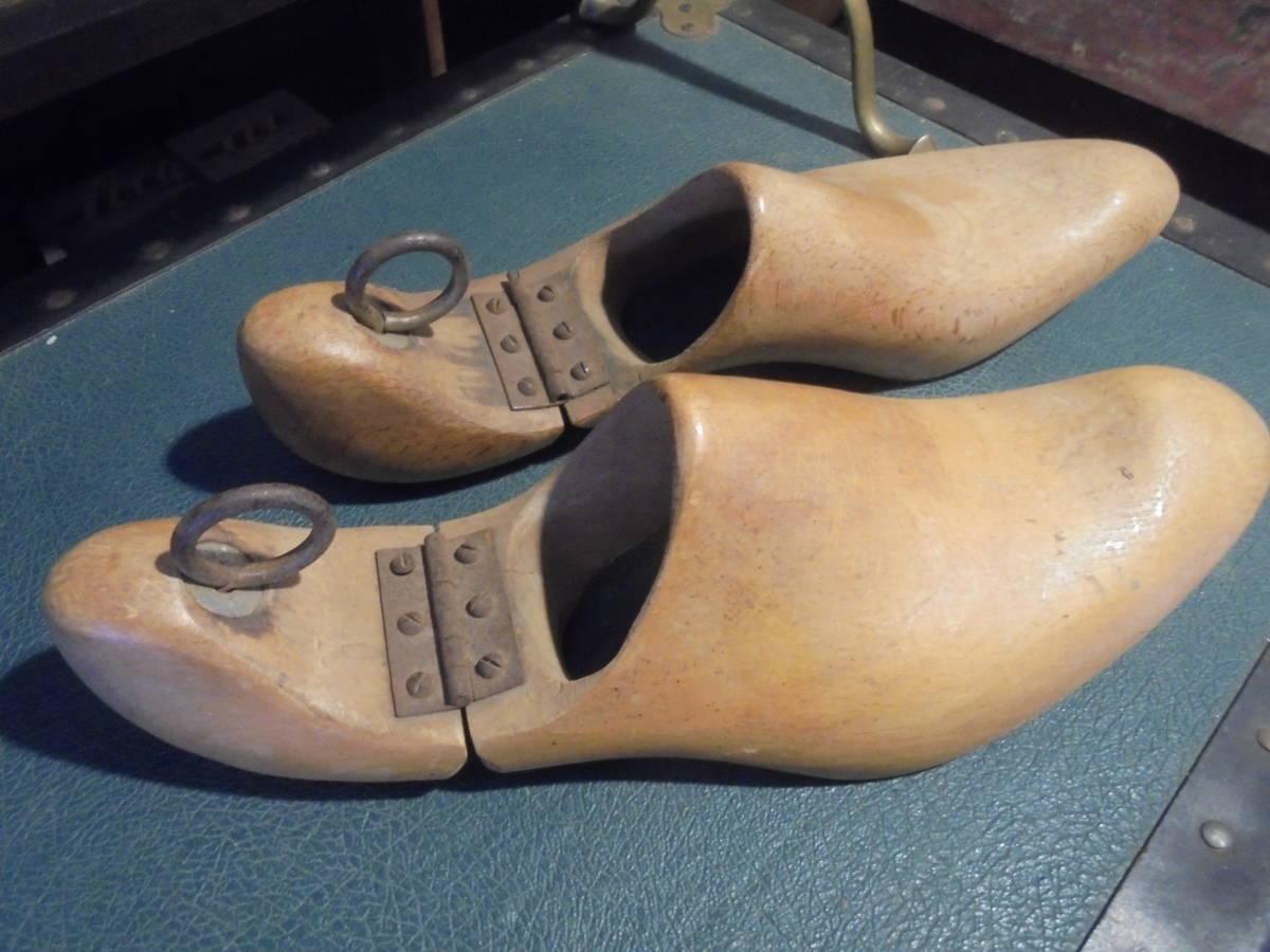 【フランス蚤の市無垢材のシューキーパー】オールドチーク靴型靴職人ヴィンテージ古着古道具アンティークインテリアインダストリアル骨董_画像2