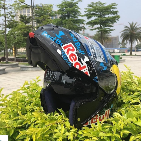 773a7571 Red Bull Motorcycle helmet full face helmet double lens black mirror men  and women personality racing full cover type レッドブル