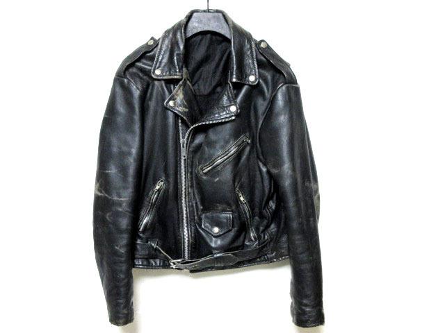ビンテージUSA古着ダブルライダースジャケットLブルゾン革ジャン42レザー本革ブラック黒