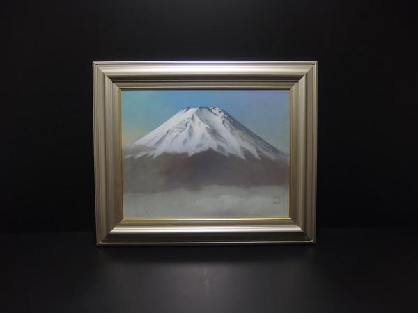 ■c49d 富士画巨匠 竹角文男 『富士』肉筆 日本画 10号 額装 共シール付