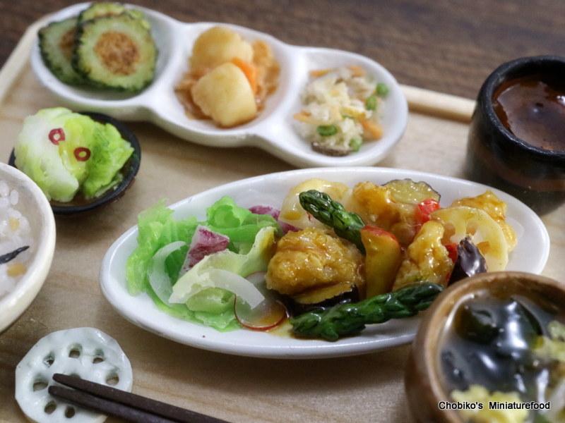 ちょび子★ミニチュア鶏肉の甘酢定食_画像3