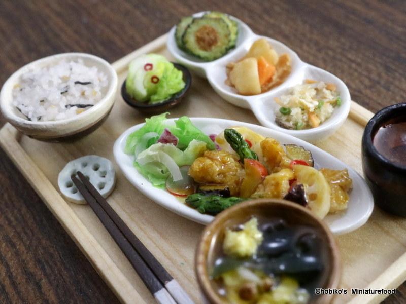 ちょび子★ミニチュア鶏肉の甘酢定食_画像6