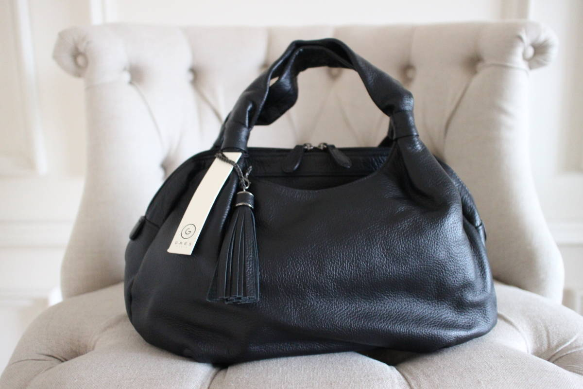 新品 定価39,900円 GRES グレ 本革製 ハンドバッグ 黒 sutekinabag