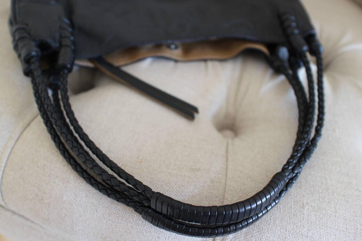イタリア フランチェスコビアジア FRANCESCO BIASIA 本革製 ショルダーバッグ イントレチャート 黒 sutekinabag_画像4