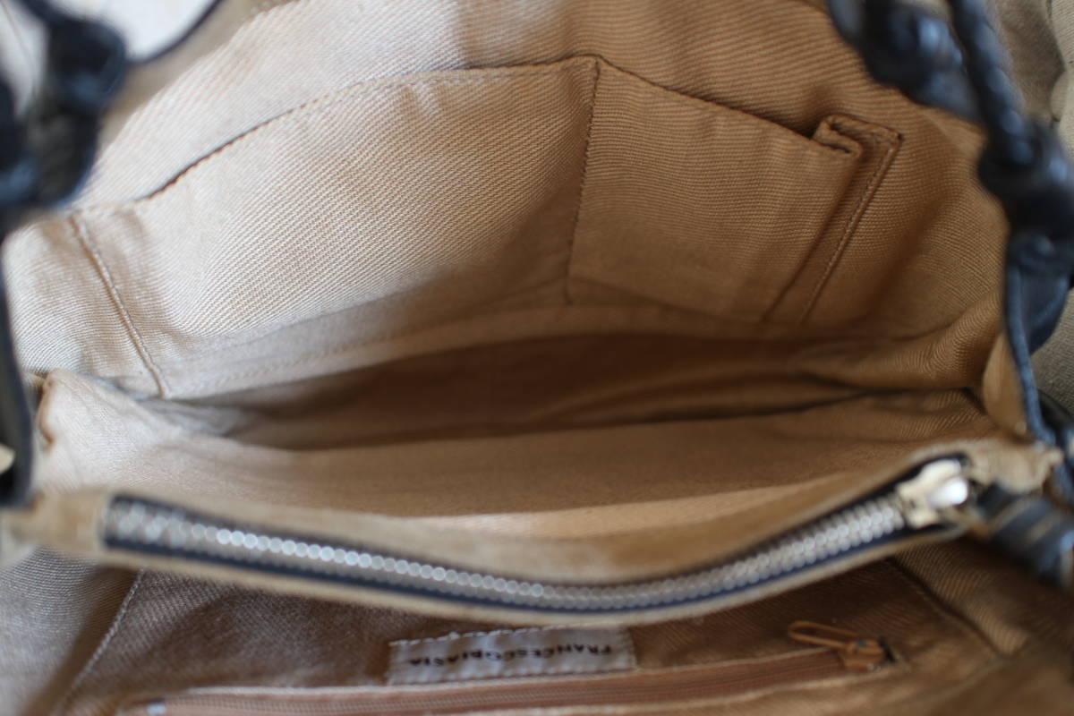 イタリア フランチェスコビアジア FRANCESCO BIASIA 本革製 ショルダーバッグ イントレチャート 黒 sutekinabag_画像6