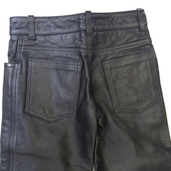 half-price and downward!Liugoo Leathers( dragon g-)26 -inch l lady's original leather pants wi men's pants strut black rider [mb-3]L