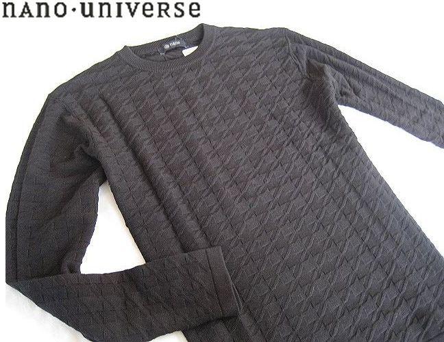新品▼ナノユニバース クルーネック 模様編み コットンニット ブラック nano・universe (M)