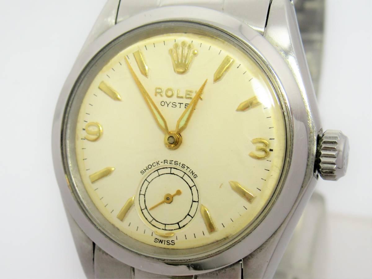 ロレックス オイスター スモールセコンド アンティーク メンズ ボーイズ 時計 手巻き リベットブレス 78350 W5549