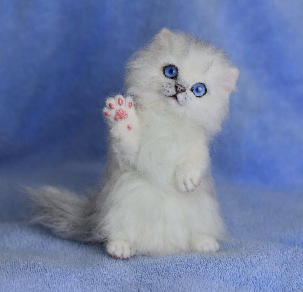 羊毛フェルト 子猫 チンチラ 猫 ハンドメイド 手作り人形 ぬいぐるみ グレー ホワイト_画像2