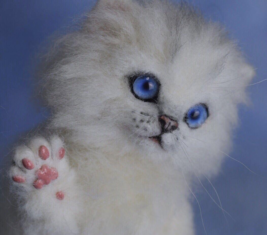 羊毛フェルト 子猫 チンチラ 猫 ハンドメイド 手作り人形 ぬいぐるみ グレー ホワイト_画像7