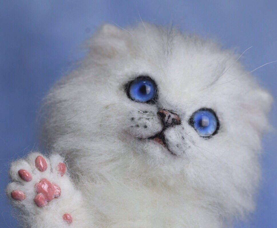 羊毛フェルト 子猫 チンチラ 猫 ハンドメイド 手作り人形 ぬいぐるみ グレー ホワイト_画像10