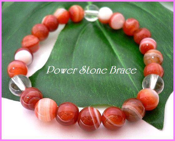◆天然石ブレス在庫処分◆8mm珠サードオニキス+水晶 数珠ブレス