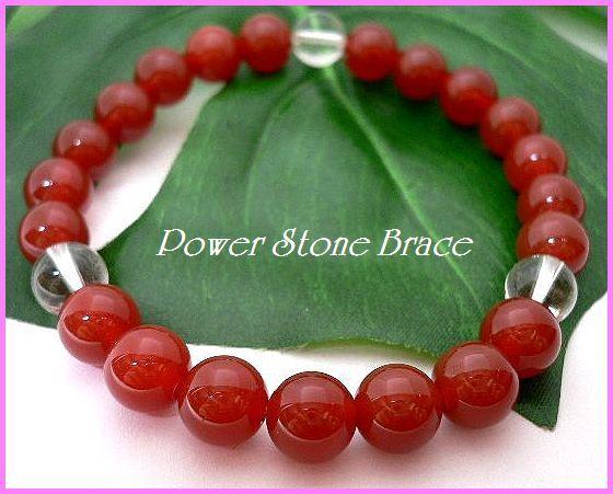 ◆天然石ブレス在庫処分◆8mm珠レッドメノウ+水晶 数珠ブレス_画像1