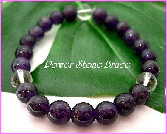 ◆天然石ブレス在庫処分◆8mm珠アメジスト+水晶 数珠ブレス