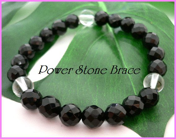 ◆天然石ブレス在庫処分◆8mm珠ブラックオニキス[64面カット]+水晶 数珠ブレス_画像1