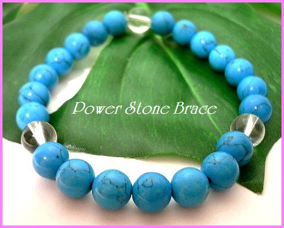 ◆天然石ブレス在庫処分◆8mm珠ターコイズ+水晶 数珠ブレス