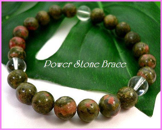 ◆天然石ブレス在庫処分◆8mm珠ユナカイト+水晶 数珠ブレス_画像1