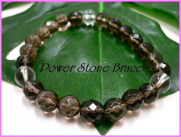 ◆天然石ブレス在庫処分◆8mm珠スモーキークォーツ[64面カット]+水晶 数珠ブレス_画像1